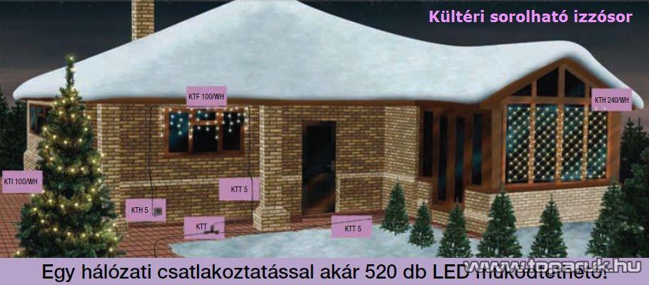 HOME KTH 240/WH Kültéri sorolható LED-es fényháló, 200 x 150 cm, 240 db hidegfehér LED-del