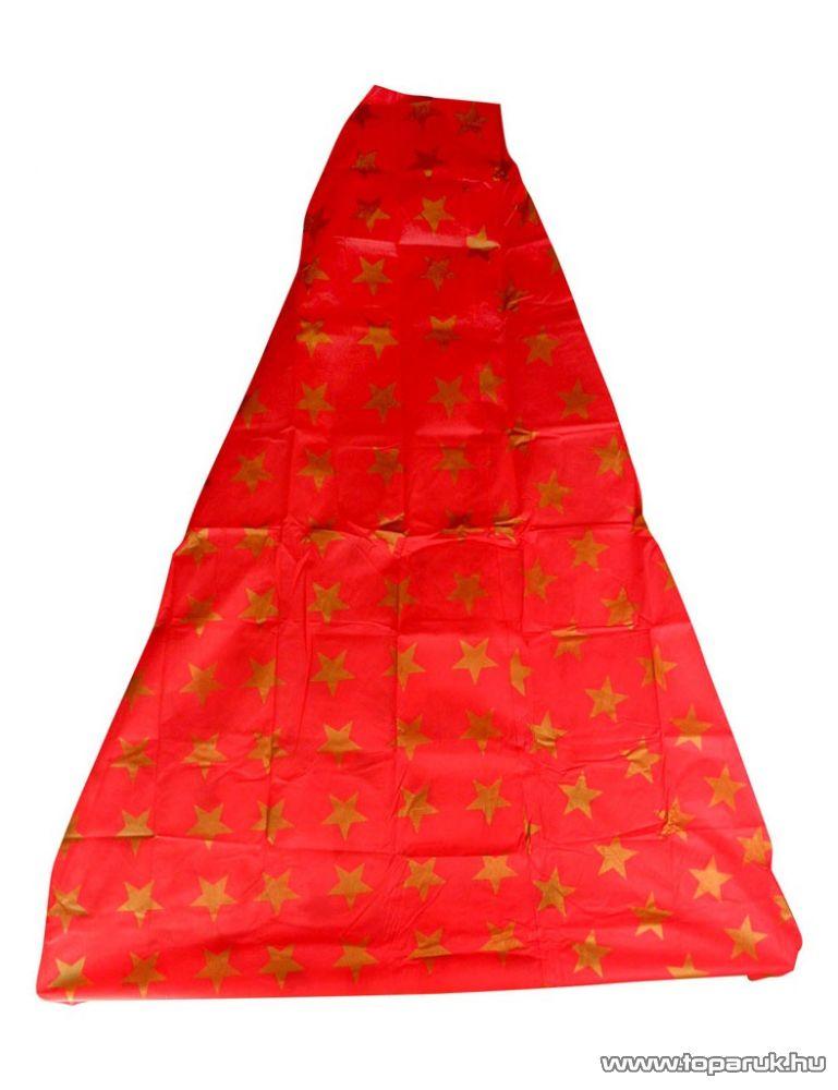 HOME KT 250/RD Karácsonyfa takaró 3 in 1 (burkolatvédő, csomagoló és szállítóanyag), piros alap / aranyszínű csillagok