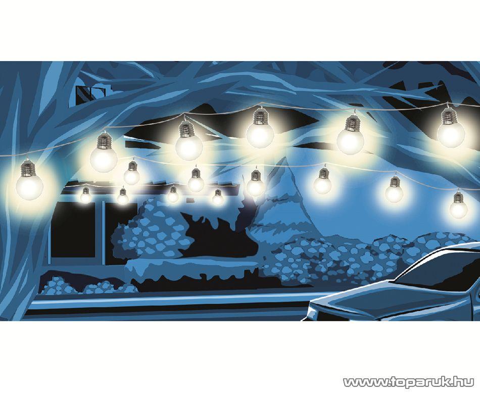 HOME LP 20/WW Kültéri kivitelű LED-es fényfüzér, 20 db műanyag villanykörte, 20 db meleg fehér LED-del