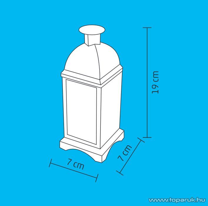 HOME LTN 8/P Beltéri lámpás LED-es gyertyával, fém anyagú, fenyő mintás