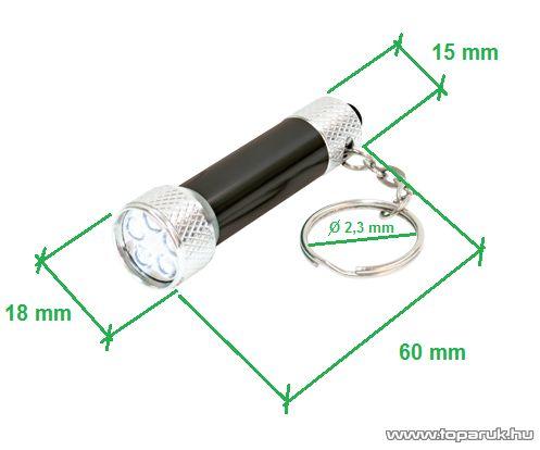 HOME MFL 023 LED-es elemlámpa kulcstartóra, fém, 5 LED-es