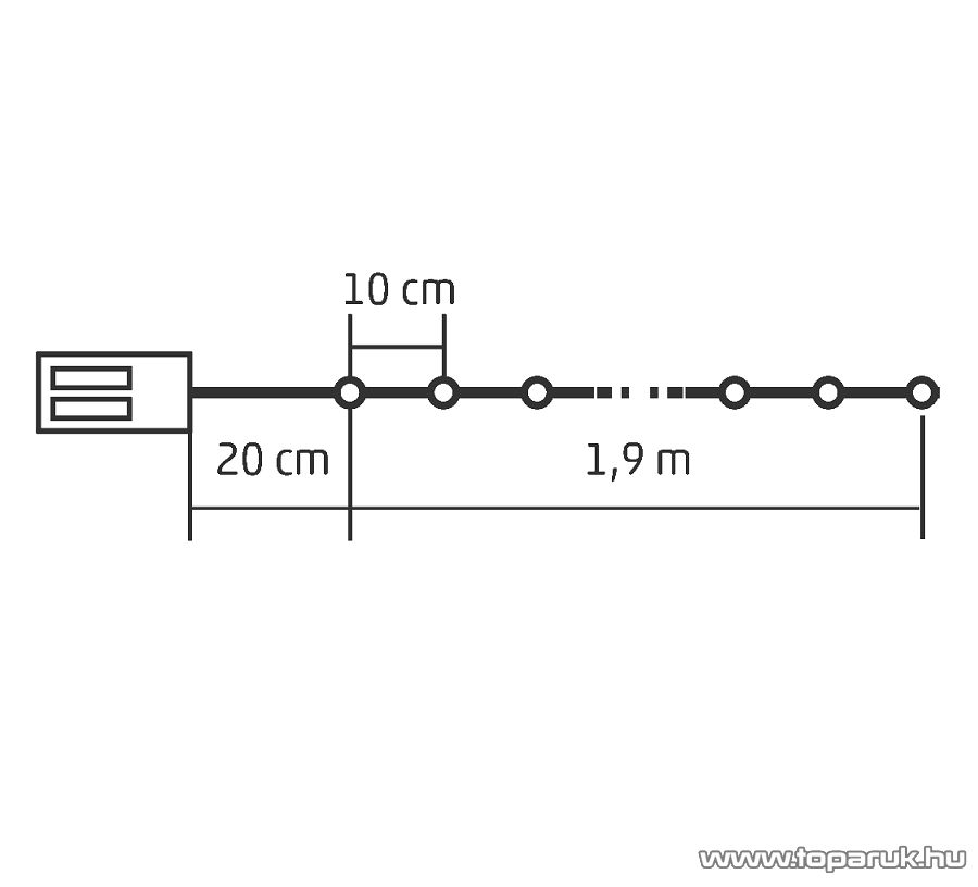 HOME ML 20/WW Beltéri 20 db fényesen ragyogó, pontszerű Micro LED-es elemes fényfüzér, 190 cm hosszú, meleg fehér fényű világítással