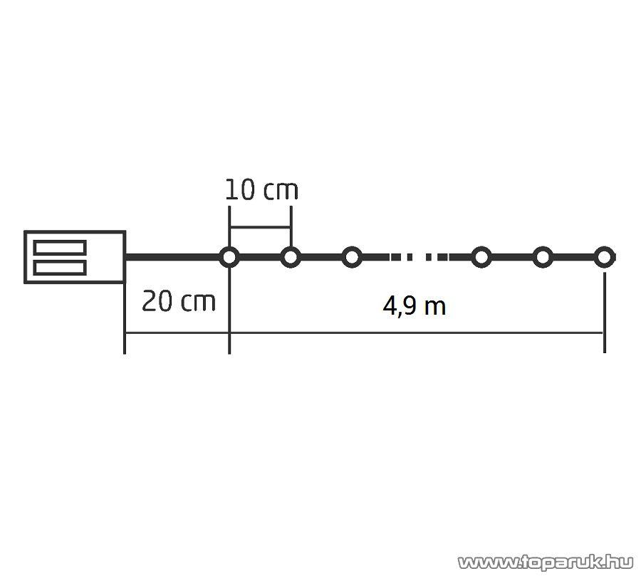HOME ML 50/WW Beltéri 50 db fényesen ragyogó, pontszerű Micro LED-es elemes fényfüzér, 490 cm hosszú, meleg fehér fényű világítással
