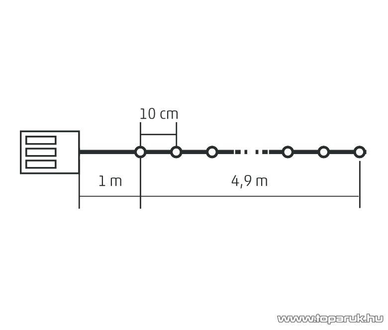 HOME MLC 58/WH Kültéri elemes, LED-es, 8 programos mini fényfüzér, 50 db hideg fehér színű leddel