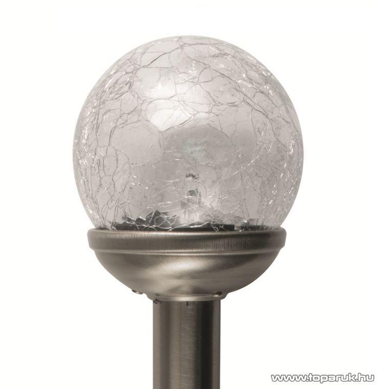 HOME MX 826 LED-es fém és műanyag kivitelű napelemes kerti szolár lámpa, üveggömb (12 cm átmérő)
