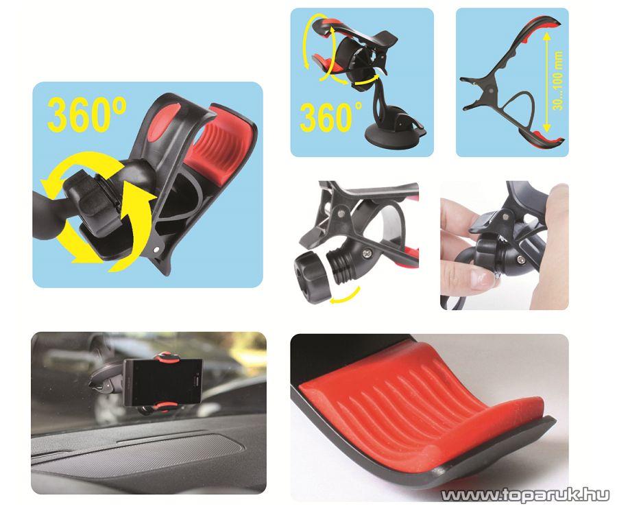 HOME SA 036 Tapadókorongos autós telefon tartó, fekete - megszűnt termék: 2016. június