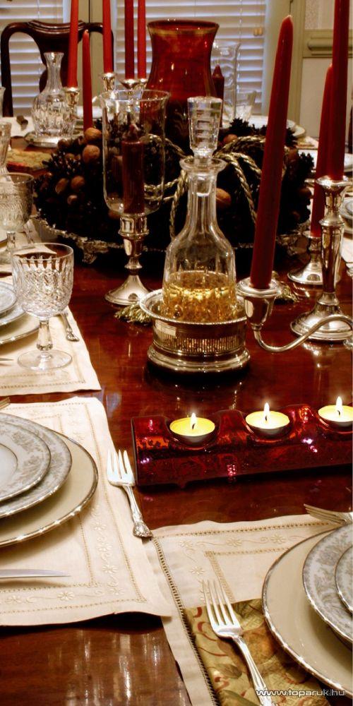 HOME TLH 33/RD Világító mécsestartó üveg dísz, piros