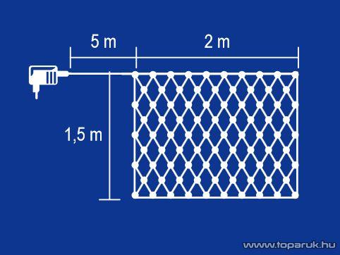 HOME KLN 160/WW Kültéri LED-es fényháló 160 db meleg fehér fényű ledddel, 200 x 150 cm