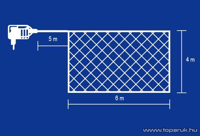 HOME KLN 400/WH Kültéri LED-es fényháló 400 db hideg fehér fényű leddel, 600 x 400 cm