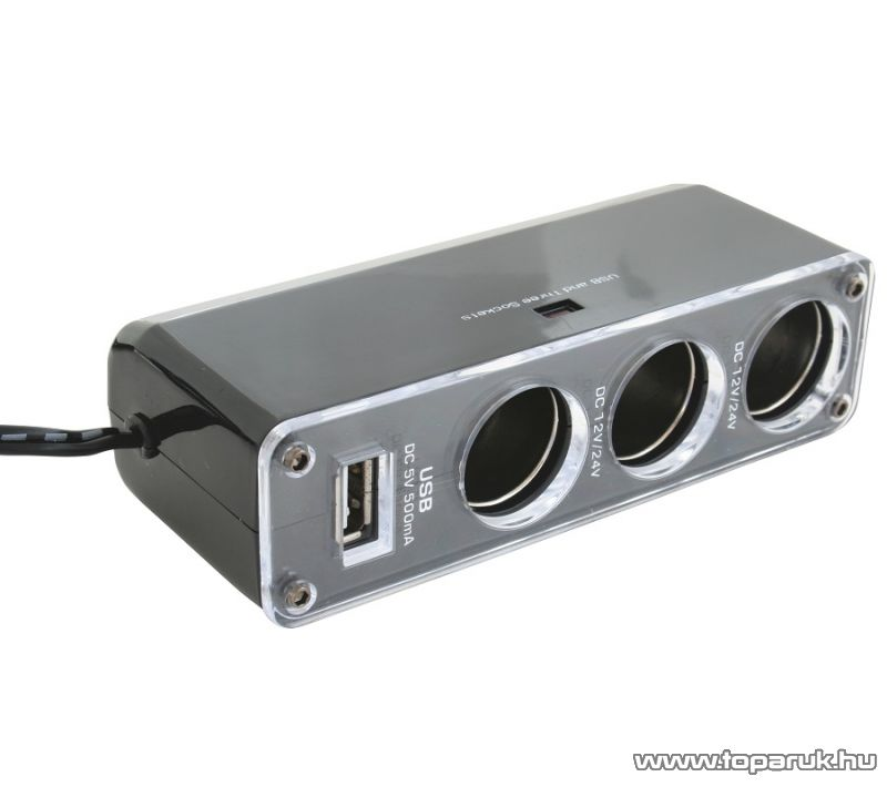 SAL SA 023 Autós feszültség elosztó, 3-as + USB csatlakozó
