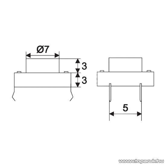 Mikrokapcsoló, 1 áramkör, 0,05A-12V, DC, OFF-(ON), 20 db / csomag (09040)