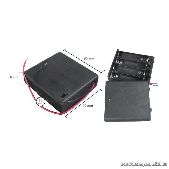 neXus Műanyag elemtartó, 4 db AA (ceruzaelemhez) kapcsolóval, fedőlappal, fedőlappal, 5 db / csomag (05348)