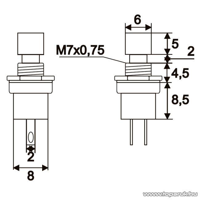 Nyomógomb, 1 áramkör, 1,5A-250V, OFF-(ON), piros, 5 db / csomag (09005PI)