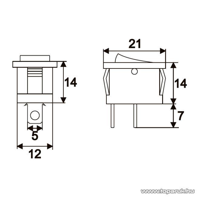 Billenő kapcsoló, 1 áramkör, 6A-250V, OFF-ON, I-O jelzéssel, 10 db / csomag (09020)