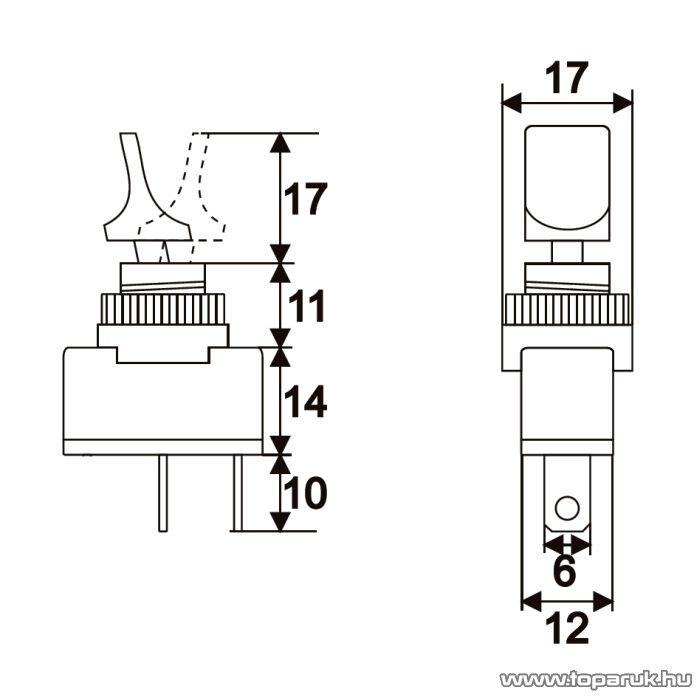 Karos kapcsoló, 1 áramkör, 10A-12VDC, OFF-ON, 5 db / csomag (09021)