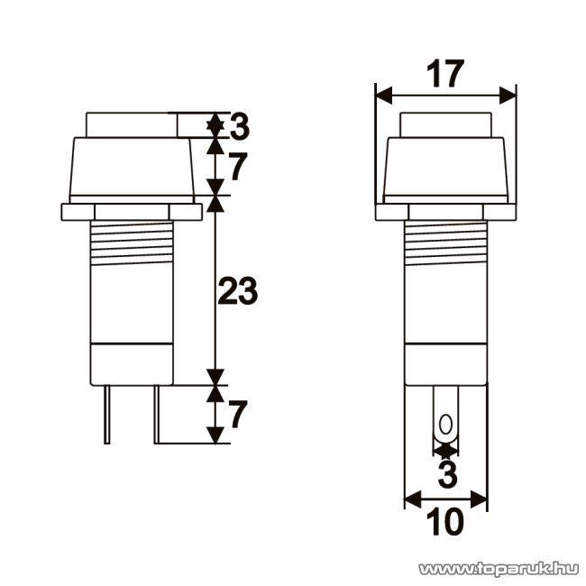 Nyomógombos kapcsoló, 1 áramkör, 1A-250V, OFF-ON, fekete, 10 db / csomag (09024FK)