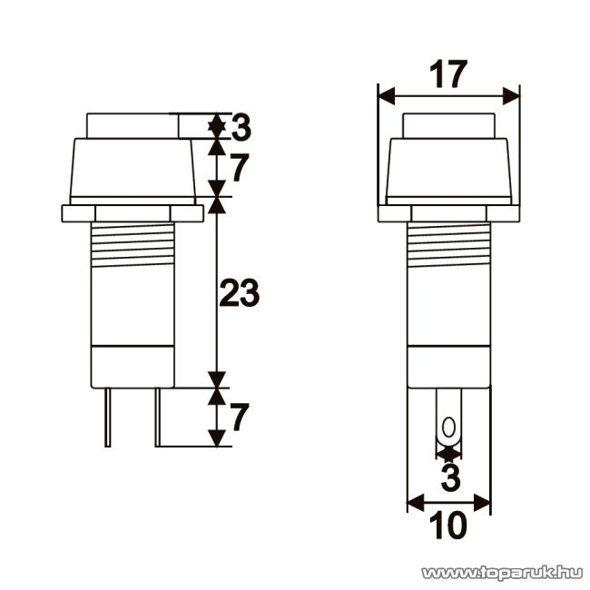 Nyomógombos kapcsoló, 1 áramkör, 1A-250V, OFF-ON, piros, 10 db / csomag (09024PI)
