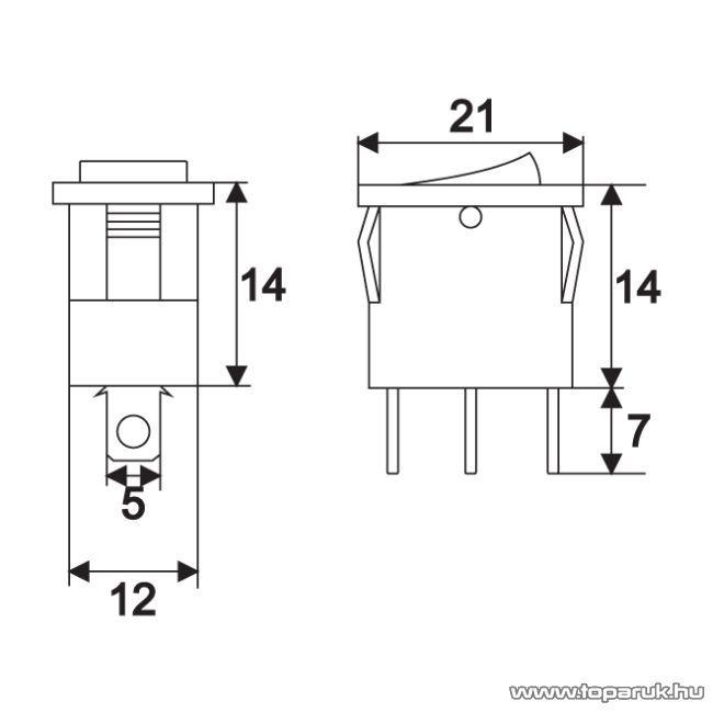 Billenő kapcsoló, 1 áramkör, 15A-12VDC, OFF-ON, piros LED-el, 5 db / csomag (09027PI)