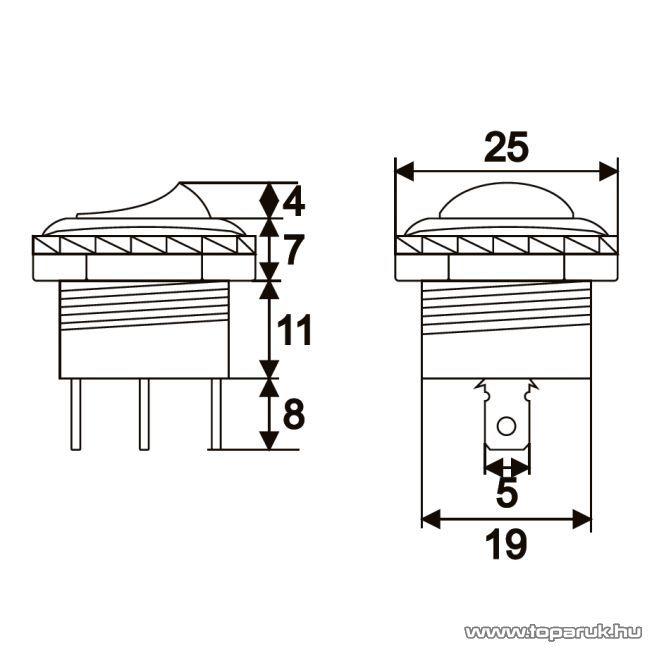Billenő kapcsoló, 1 áramkör, 10A-250V, ON-OFF, 5 db / csomag (09036)