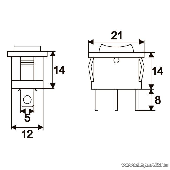 Billenő kapcsoló, 1 áramkör, 6A-250V, ON-OFF-ON, I-O-II jelzéssel, 5 db / csomag (09084)