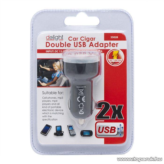 delight USB szivargyújtó adapter (55028)