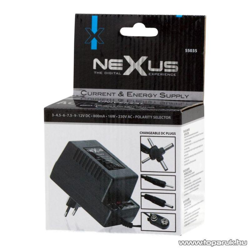 neXus Változtatható feszültségű hálózati adapter, 3V - 12V DC, 800mA (55035) - megszűnt termék: 2015. december