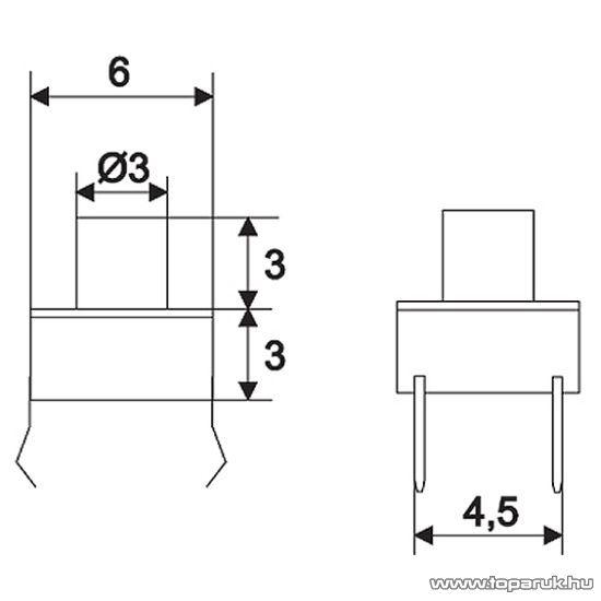 Mikrokapcsoló, 1 áramkör, 0,05A-12V, DC, OFF-(ON), 20 db / csomag (09001)