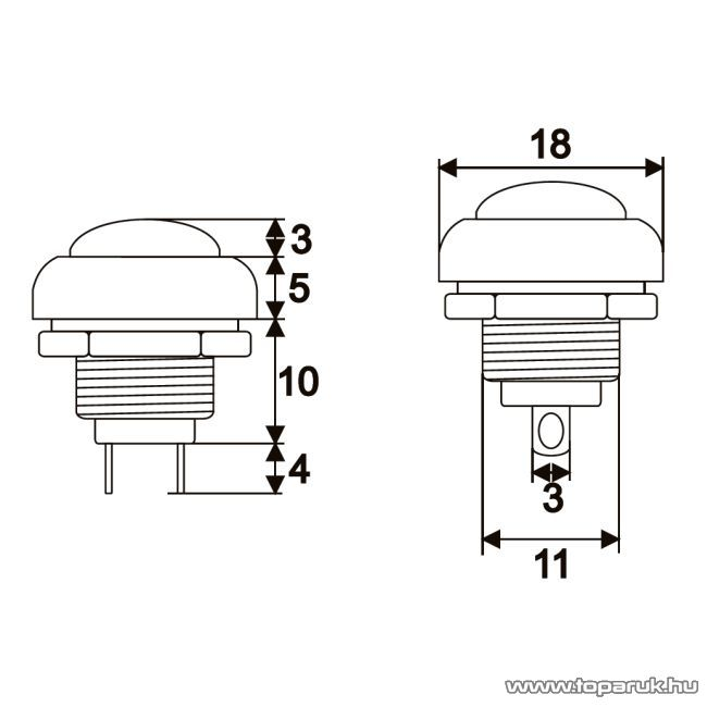 Nyomógomb, 1 áramkör, 1A-250V, OFF-(ON), piros, 5 db / csomag (09044PI)