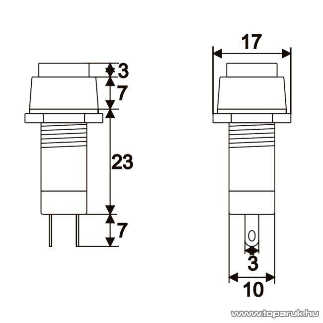 Nyomógombos kapcsoló, 1 áramkör, 1A-250V, OFF-ON, fekete, 10 db / csomag (09052FK)