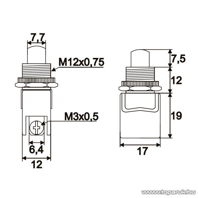 Nyomógomb, 1 áramkör, 4A-250V, ON-(OFF), piros, 5 db / csomag (09064PI)