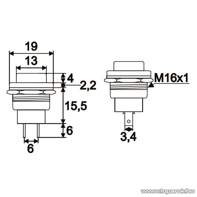 Nyomógomb, 1 áramkör, 2A-250V, ON-(OFF), piros, 5 db / csomag (09066PI)