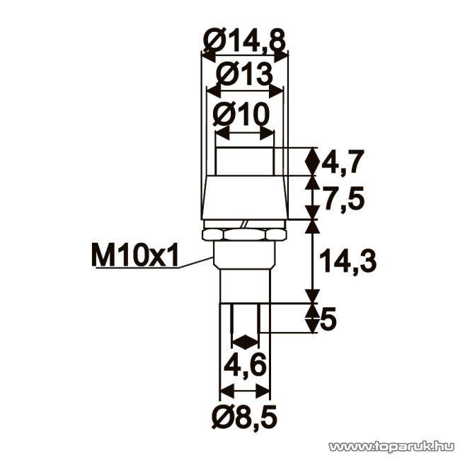 Nyomógomb, 1 áramkör, 2A-250V, OFF-(ON), narancssárga, 5 db / csomag (09067NA)