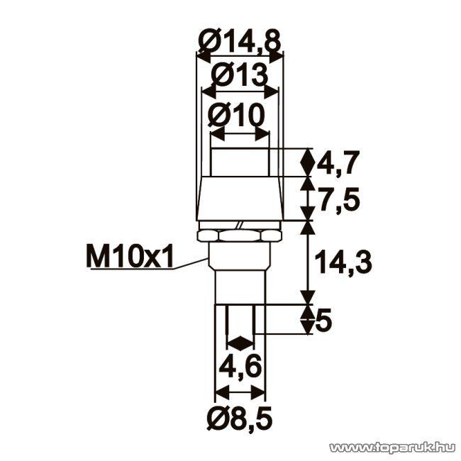 Nyomógomb, 1 áramkör, 2A-250V, OFF-(ON), zöld, 5 db / csomag (09067ZO)