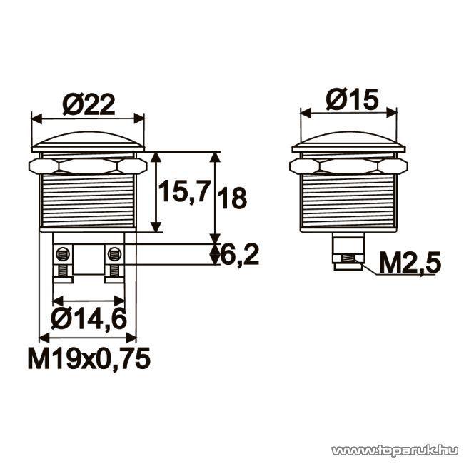 Nyomógomb, 1 áramkör, 2A-250V, OFF-(ON), fém, 2 db / csomag (09069)