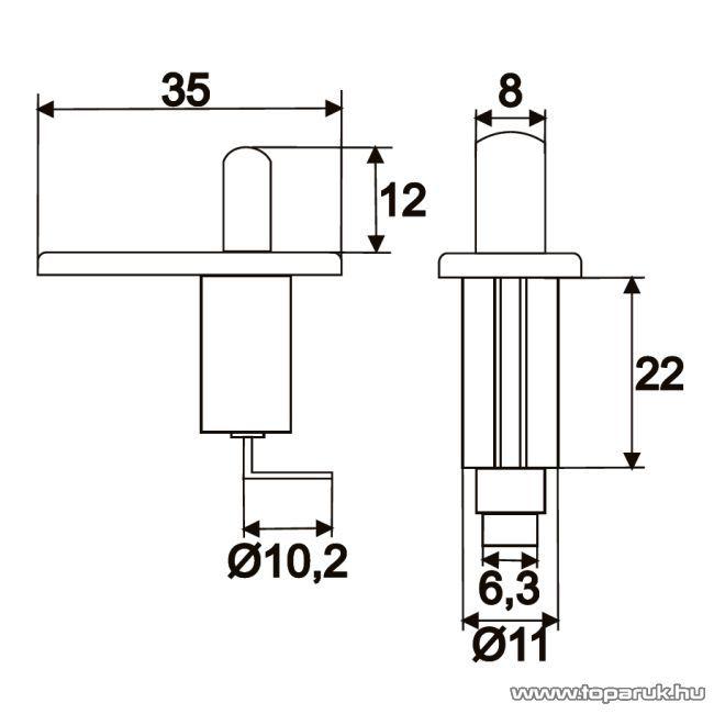Nyomógomb, 1 áramkör, 20A-12V, DC, ON-(OFF), 5 db / csomag (09070)