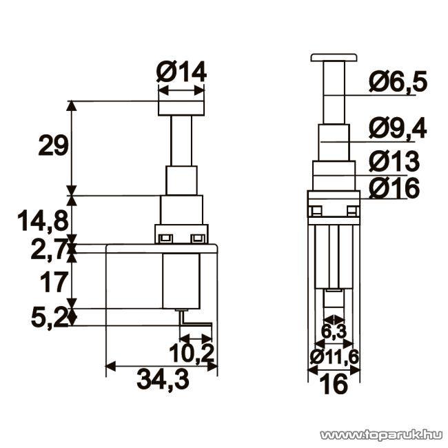 Nyomógomb, 1 áramkör, 20A-12V, DC, ON-(OFF), 5 db / csomag (09072)