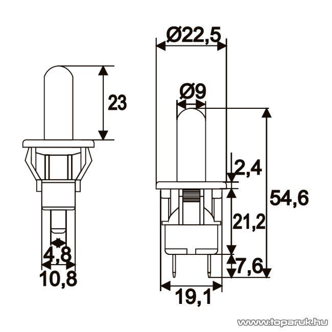 Nyomógomb, 1 áramkör, 2,5A-250V, OFF-(ON), 5 db / csomag (09073)