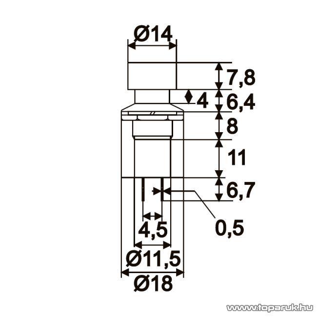 Nyomógombos kapcsoló, 1 áramkör, 1A-250V, OFF-ON, piros, 10 db / csomag (09074PI)