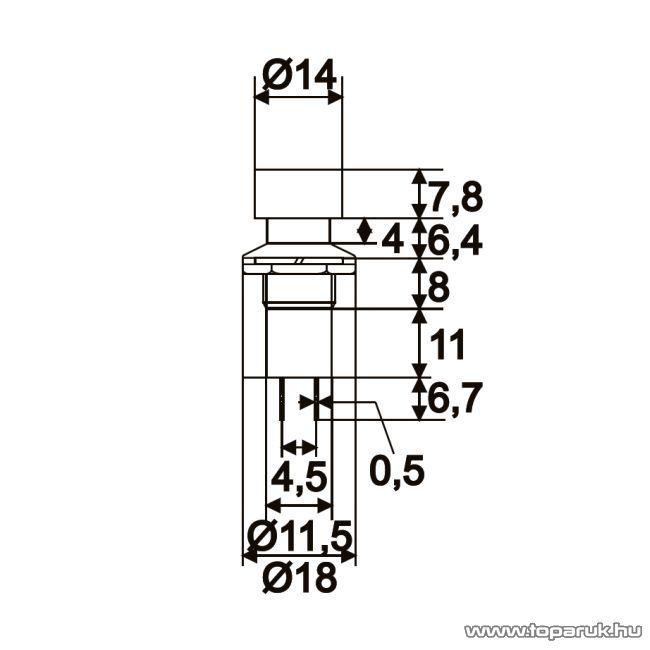 Nyomógomb, 1 áramkör, 1A-250V, ON-(OFF), piros, 10 db / csomag (09076PI)