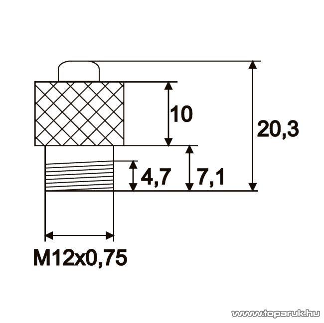 Nyomógombos kapcsoló, 1 áramkör, 0,6A-12V, DC, OFF-ON, fémtest, 5 db / csomag (09079PI)