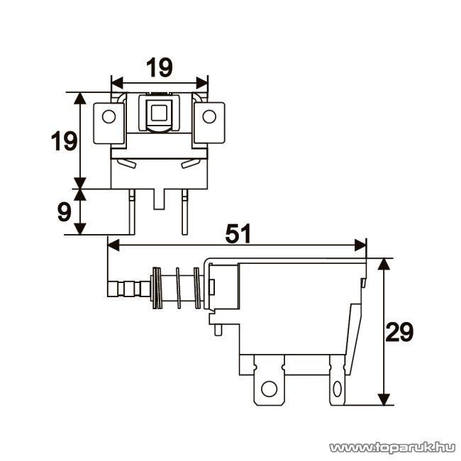 Nyomógombos kapcsoló, 2 áramkör, 10A-250V, OFF-ON, opcionális 09082, 5 db / csomag (09081)