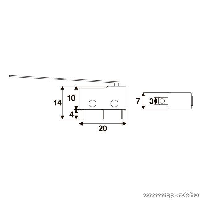 Mikrokapcsoló, 1 áramkör, 5(2)A-250V, ON-ON, 5 db / csomag (09083) - készlethiány
