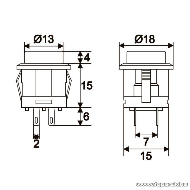 Nyomógomb, 1 áramkör, 15A-250V, AC, OFF-(ON), piros világítással, 2 db / csomag (09089PI) - készlethiány
