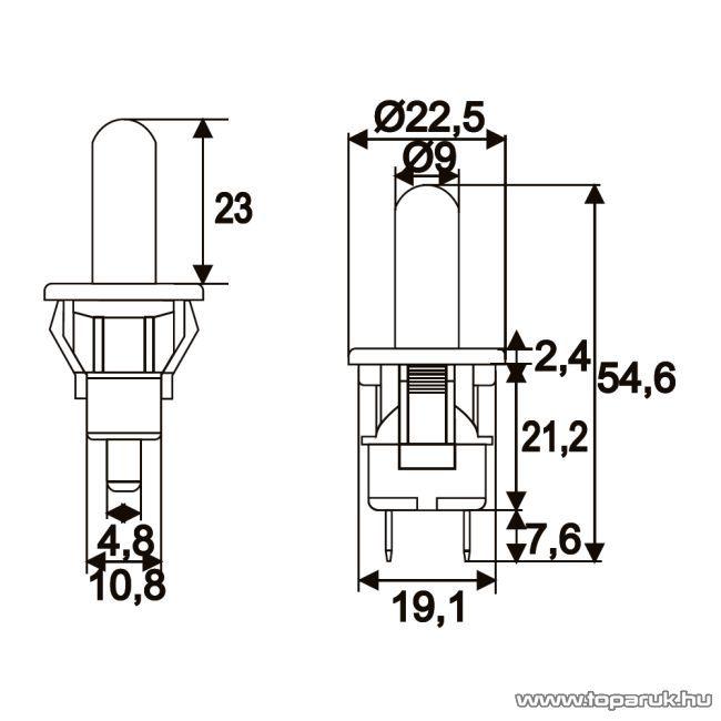 Nyomógomb, 1 áramkör, 2,5A-250V, ON-(OFF), 5 db / csomag (09093)
