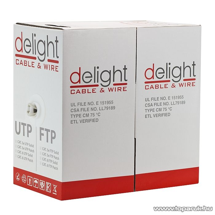 Delight UTP Cat.5e vezeték, tömör belső erek, 305 m / doboz (20016)