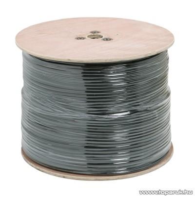 Koax kábel, RG 59, B/U Cu, 75 ohm, fekete, 500 m/fadob (20045)