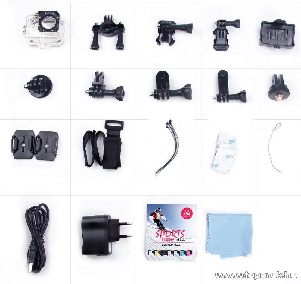 SJCAM SJ4000 sportkamera (FullHD-s kalandkamera) vízálló házzal, kék