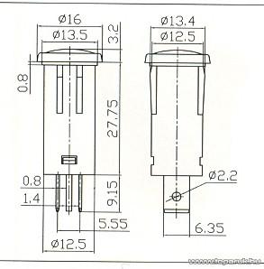 Jelzőfény, 12V, kék, 10 db / csomag (07921KE)