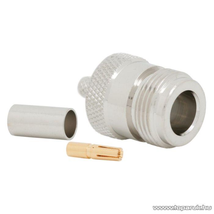 N aljzat / csatlakozó RG 58 koax kábel-hez, 50 ohm, krimpelős, aranyozott tüske (05190)