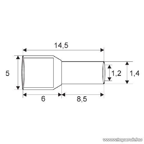 Érvéghüvely, 2 x 0,5 mm2-es vezetékekhez, fehér, 100 db / csomag (05720)